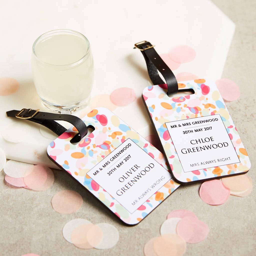 wedding confetti luggage tags personalised wedding gift by ...