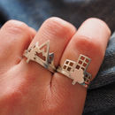 Building And Tree Silver Stacking Rings