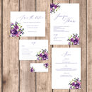 Violet Rose Floral Illustrated Wedding Invitations