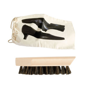 Shoe Boot Wellie Brush Care In Fabric Bag Set