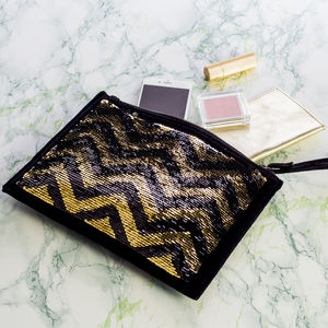 Reversible Sequin And Leather Clutch Bag - gifts for her