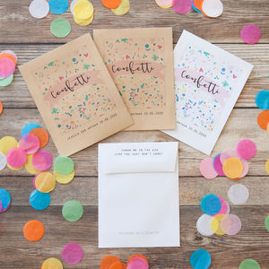 10 Personalised Colourful Confetti Print Packets - confetti, petals & sparklers
