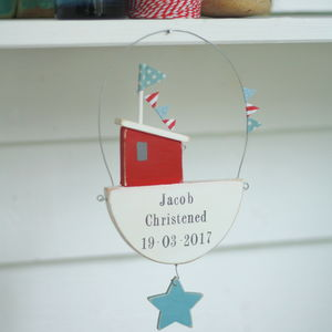 Personalised Hanging Fishing Boat With Painted Star