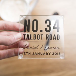 Personalised New Home Glass Coaster - housewarming gifts