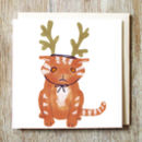 Cat In Reindeer Hat Christmas Card