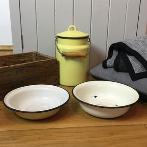 Two Vintage Enamel Dog Bowls - kitchen