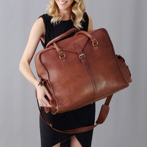 Extra Large Distressed Vintage Style Leather Cabin Bag - holdalls & weekend bags