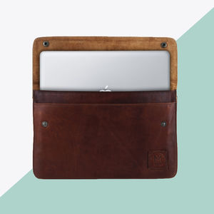 Personalised Leather Oslo Macbook Sleeve/Case - bags & cases