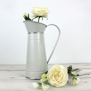Farmhouse White Metal Pitcher - flowers, plants & vases