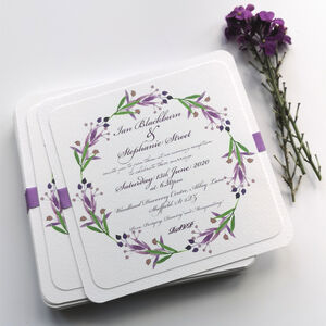 Lavender Flower Wreath Wedding Invitation