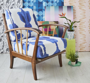 Midcentury Armchair In Korla Ink Blue Inkat