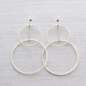 Large Geometric Circle Drop Earrings