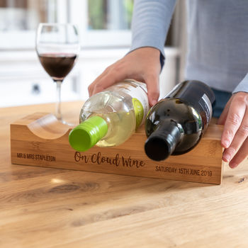 Personalised On Cloud Wine Bamboo Wine Holder