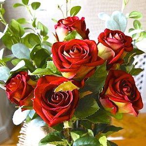 Red Silk Faux Rose - artificial flowers