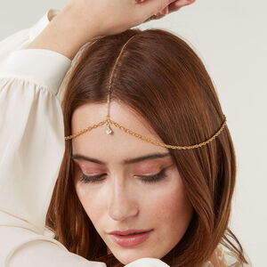 Gold Plated Head Chain With Crystal Drop