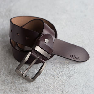 Men's Monogram Leather Belt - gifts for him