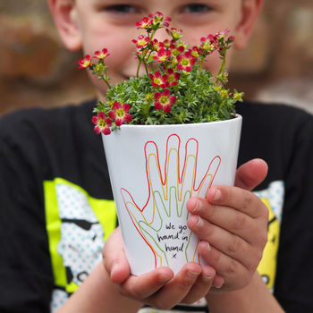 Personalised Family Hands Plant Pot Gift With Seeds