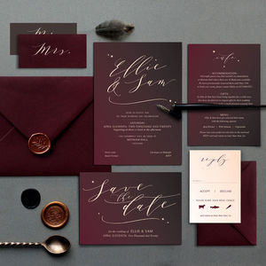 Red Skies Burgundy Ombre Wedding Invite Collection - invitations