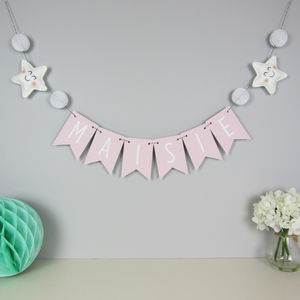 Personalised Star Name Bunting With Honeycomb Pom Poms - children's parties