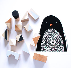Copper + Monochrome Wooden Blocks - gifts for babies