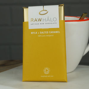Mylk And Salted Caramel Raw Chocolate Bar - chocolates