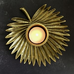Gold Palm Leaf Tea Light Holder