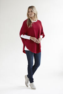 Reversible Cashmere Cotton Poncho - ponchos & wraps