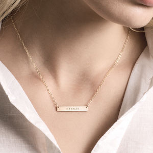 Personalised Bar Necklace - gifts for her
