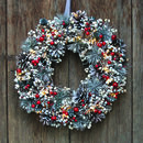 Red Berries And Grey Spruce Illuminated Wreath
