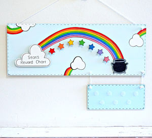 Personalised Rainbow And Stars Reward Chart - children's room