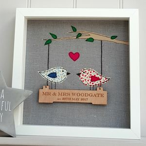 Linen Anniversary 'Love Birds' With Engraved Oak Swing