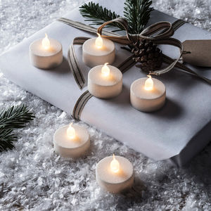 Set Of Six White Glitter Battery LED Tea Lights