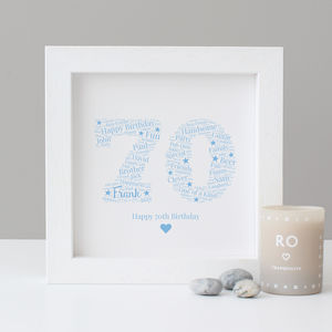 Personalised 70th Birthday Gift Print - typography