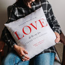 Personalised 'Love Across The Miles' Locations Cushion