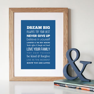 'Rules Of Life' Inspirational Quote Print Or Canvas - children's pictures & paintings