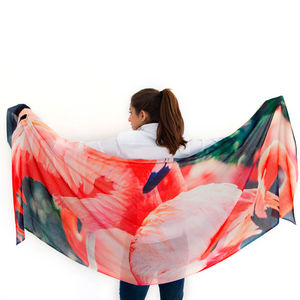Womens Printed Cashmere Silk Scarf, Florida Flamingos