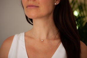 Floating Pearl White Gold Necklace
