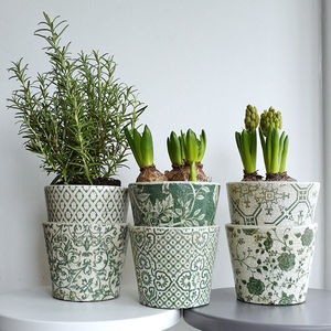 Set Of Six Green And White Pattern Ceramic Plant Pots