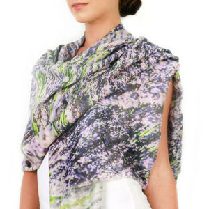 Womens Printed Cashmere Silk Scarf, Lavender Fields - womens