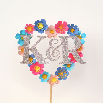 Paper Flower Personalised Loveheart Cake Topper