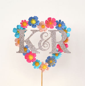 Paper Flower Personalised Loveheart Cake Topper - cake toppers & decorations