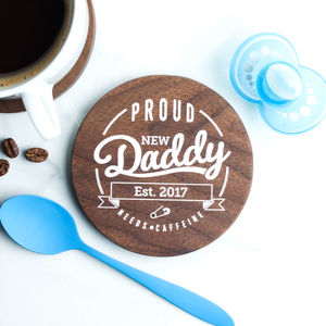 Personalised Father's Day New Daddy Wood Coaster - placemats & coasters