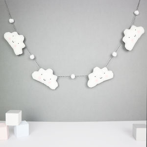 Cloud Garland With Mini Pom Poms - baby shower gifts & ideas