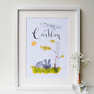 Personalised Nursery Art Illustrated Badger Print