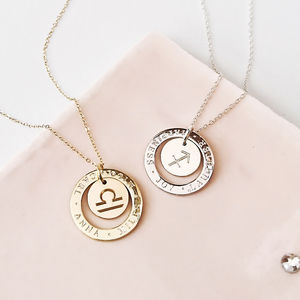 Personalised Halo Zodiac Necklace