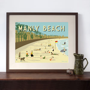 Manly Beach Retro Art Print