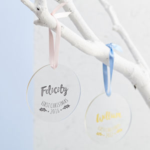 Baby's First Christmas Foiled Decoration - home accessories