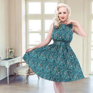 1950s Vintage Style Antique Key Print Tea Dress - women's fashion