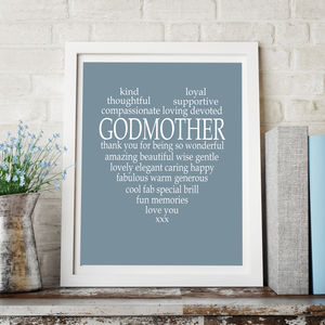Personalised Godmother Heart Print - family & home