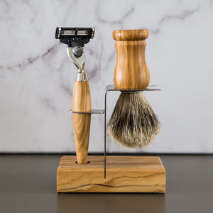 Olive Wood Shaving Set With Stand